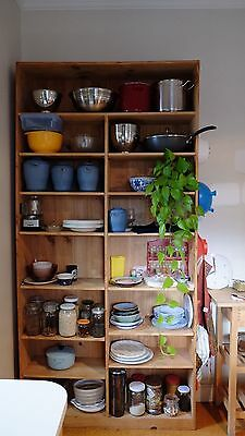 Large pine timber shelving unit - shelf wood bookcase