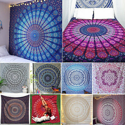Queen Wall Hanging Hippie Indian Mandala Bedspread Tapestry bohemian Dorm Decor