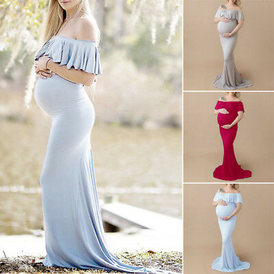Pregnant Womens Long Maxi Wedding Dress Maternity Gown Photography Props Clothes