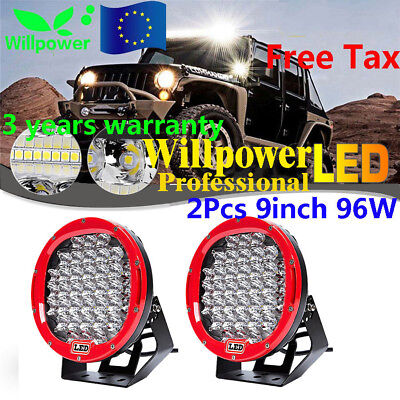 2pcs 96W Round Cree LED Driving Spot Lights UTE TRUCK SUV ATV OffRoad 9inch RED