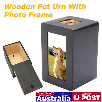 Black Wooden Dog Cat Pet Cremation Urn Peaceful Memorial with Photo Frame 16cm H