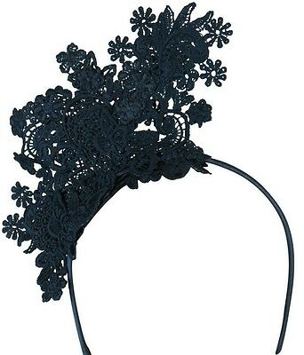 Morgan And Taylor Navy Blue Lace Fascinator Races Wedding Melbourne Cup
