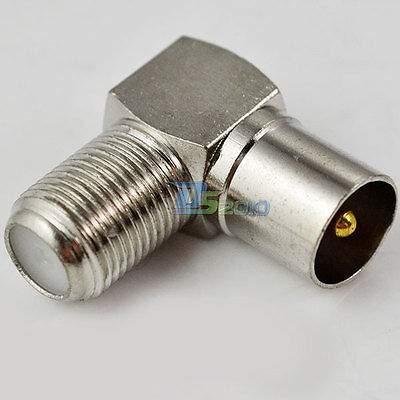 F Type Right Angle TV Male Plug to Coaxial Female Jack Socket Adapter Connector