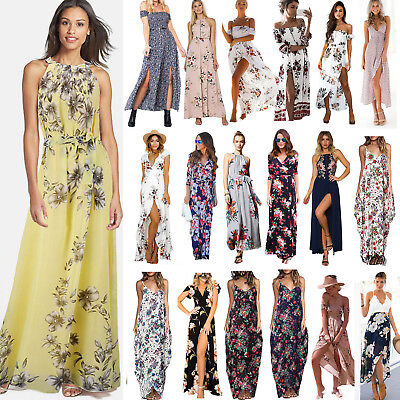 Women's Boho Floral Long Maxi Dress Cocktail Party Evening Summer Beach Sundress