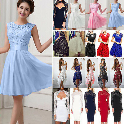 Women's Lace Floral Formal Dress Prom Evening Party Cocktail Bridesmaid Wedding