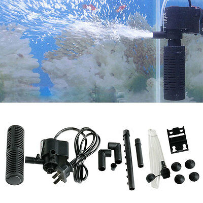 Black Internal Power Filter Water Spray Air Pump Fish Tank Aquarium Submersible