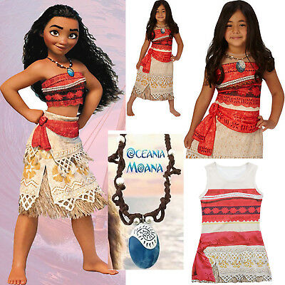 Moana Girls Fancy Dress Disney Princess Hawaiian Book Day Kid Child Costume Lot