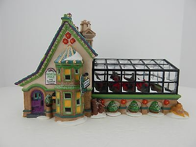 Dept 56 North Pole Series Mrs. Claus Greenhouse #56395 Poinsettia Benches