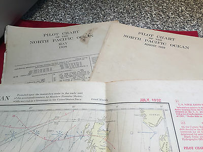 3 x Large Pre War US Navy North Pacific Ocean Pilot Charts , 1928 1929 & 1932