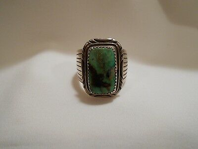W Denetdale Navajo Silversmith Royston Turquoise Sterling Silver Ring Size 11.25