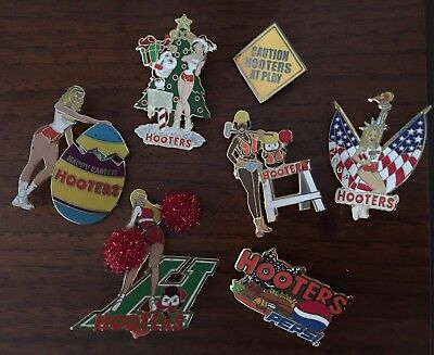 Lot (7) HOOTERS Staff Restaurant Collectible Enamel PIN Pins RARE ANNIVERSARY