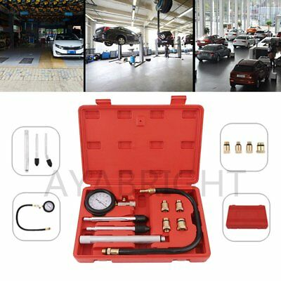 Petrol Engine Cylinder Pressure Tester Car Compression Gauge Test Tool Kit F7