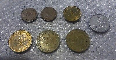 Lot of 7 German coins 1949-1950 1, 5,10, 50 Pfennig