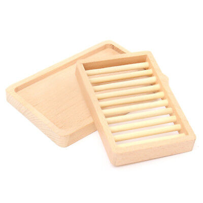 Wooden Bathroom Shower Soap Box Dish Plate Holder Drip Tray Case Container I5I5