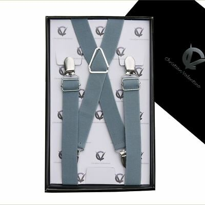 Boy's Braces Mid Grey X2.5cm Boys Suspenders Kids