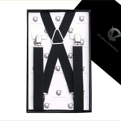 Boy's Braces Black X2.5cm Boys Suspenders Kids