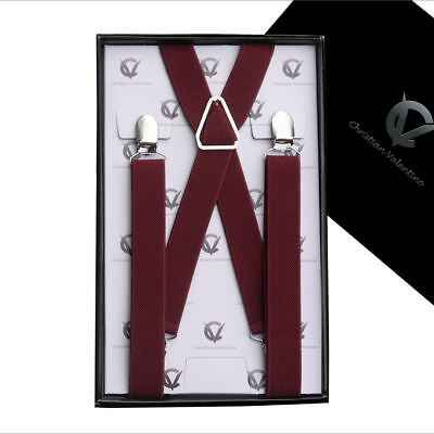 Boy's Braces Burgundy Deep Red Maroon X2.5cm Boys Suspenders Kids