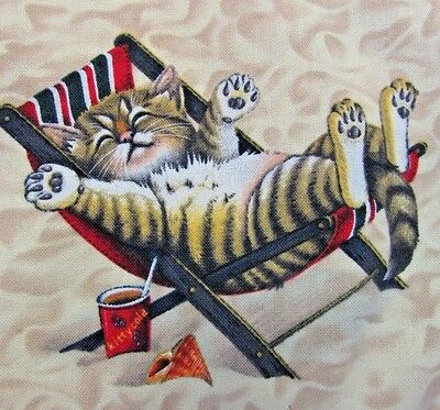 """Cat Lover's Pillow Cover Beach Kitties Homemade Square 16.5 x 16.5"""" 2-Sided"""