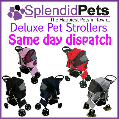 4 Wheel Dog Stroller Easy Foldable Travel Pet Buggy Pushchair for Dogs & Cats