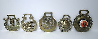 Antique Horse brass leather harness medallions