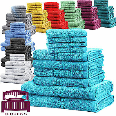 Luxury Towel Bale Set 100% Cotton 10Pc Face Hand Bath Bathroom Towels