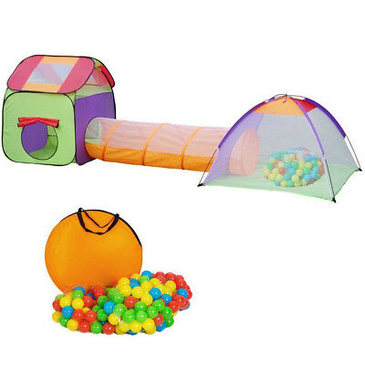 Children Playhouse Set Pop up Kids Play Tent Tunnel House +200 Ball Fun Game Toy