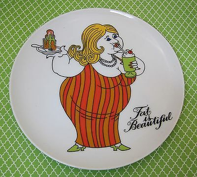 Fritz and Floyd Fat Beautiful 1970's Plate Original Paper Tag Lady Red Orange