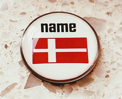 anneys - your OWN PERSONALISED  ** Danish flag ** golf ball marker!!