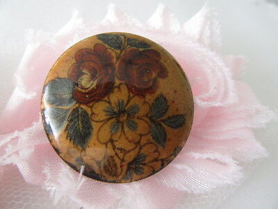 Stunning Vintage  Old Brooch   Beautiful Handpainted Flowers On Brass