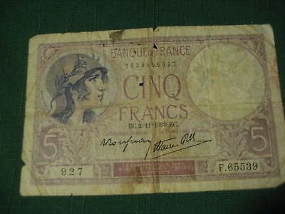 Paper Money Circulated 5 Francs France