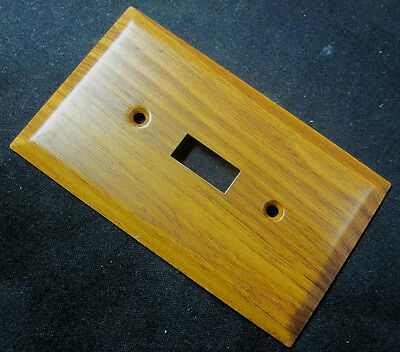 1 Vintage AmerTack Oak Wood Grain Retro Steel Toggle Switch Wall Cover Plate
