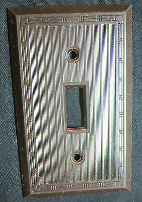 Vintage Ribbed Lines Brown Bakelite Hubbell  P&S Switch Plate Cover Dashed Deco
