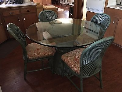 McGuire Authentic Sheaf of Wheat Dining Table & Chairs