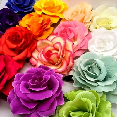 Women's Cloth Roses Hair Clip Flowers Floral Bridal Corsage Brooch pin Style UK