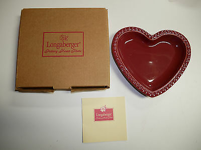 Longaberger Pottery Heart Plate  NEW in Box Paprika