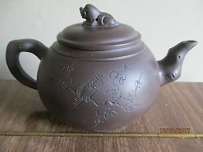 Vintage Chinese pottery tea pot , signed