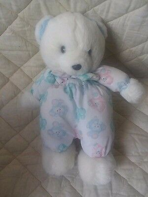 Carter's Vintage White Teddy Bear Plush Stuffed Baby Toy Pastel Colors