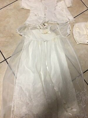 Vintage Victorian Style Infant Baby Christening Gown Antique Off White