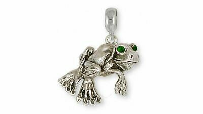 Frog Charm Slide Jewelry Sterling Silver Handmade Frog Charm Slide FG3-PNS