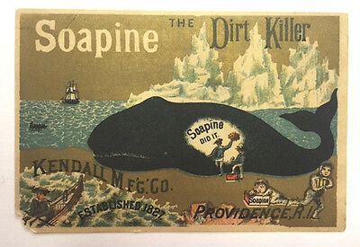 Victorian Ad Card - Soapine - The Dirt Killer - Sailor Cleaning Whale