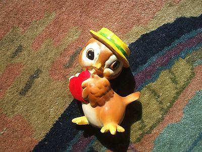 Josef Originals Baby Owl Holding A Large Red Valentine Heart Yellow & Green Hat