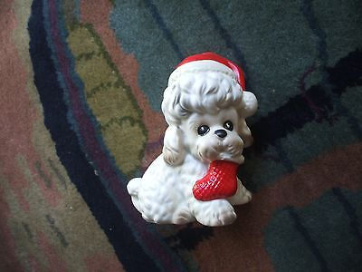 Josef Originals Christmas Puppy Dog  Red Stocking Cap & Red Stocking In Mouth