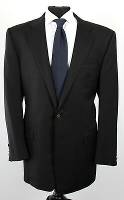 HICKEY FREEMAN Black Blazer Sport Coat Jacket Bronze Buttons 44 L Wool Cashmere