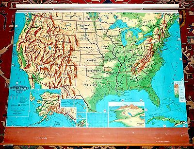 "Vintage 1960s Weber-Costello Magna Graphic United States 45X66"" Pull Down Map"