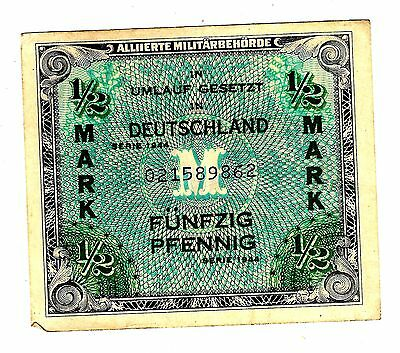 WWII* DEUTSCHLAND* 1/2 MARK   (1944 series) MILITARY Note