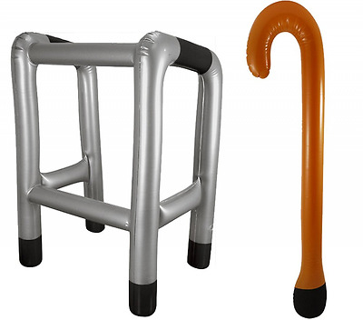 Inflatable Blow Up Zimmer Frame And Or Walking Stick Novelty Present Joke Xmas