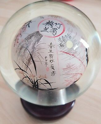 Chinese Glass Sphere With Chinese Writings