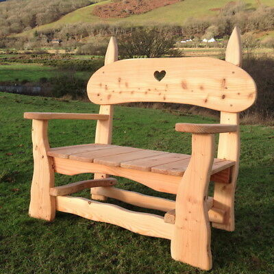 Handmade Chunky Garden Bench. Durable Outdoor Patio Furniture