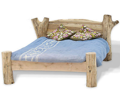 Beech Driftwood Bed, Stunning Solid Wood Bed Frame in King, Queen, Double & Supe