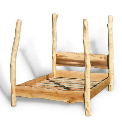 Driftwood Four Poster Tree Bed, Handmade Wooden Canopy Bedframe